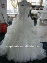 A6658 Spaghetti Strap Big Ruffle Arabic Wedding Dress 2012