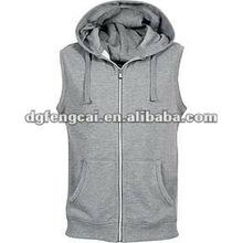 80% cotton 20% polyeseter french terry zip hoody sleeveless
