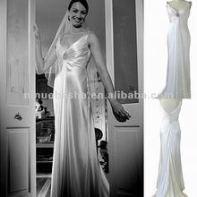 NY-1578 V-neck slinky 30's silk satin with front drape wedding dress