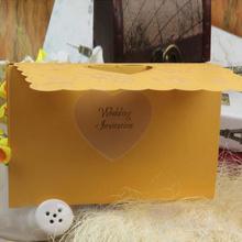 Custom printed pearl side fold with bow simple wedding invitation
