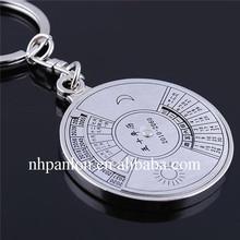 Traditional Compass Calendar Clock Keychain, Metal coin Holder Keychain