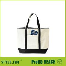 convenient black canvas recyclable shopping cotton bag