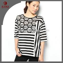 top sale high quality 100 cotton fabric t-shirt stripe design