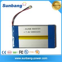 Sunb5945131 li-polymer rechargeable battery pack 3.7V 7.4V 3850mAh for wearable electronics battery