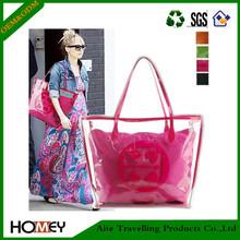 Dongguan Homey Multifunctional shiny cheap pvc zipper clear tote bags