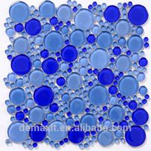 DBDMC blue round oval glass mosaic tiles