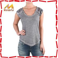 Women fashionable popular cheap crew neck mercy vintage t shirt