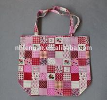 Pink Floral Stripes Dots Printed Cotton Canvas Cheap Women Shopping Bag