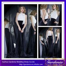 Latest Fashion Elegant Full Figure Halter Neck Lace Top White and Black Velvet Design Your Own Evening Dress Online (ZX1248)