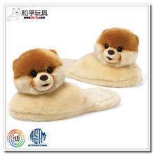 Plush animal cute pomeranian dog plush indoor room slippers
