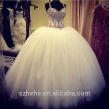 JM.Bridals CW3140 Luxury spaghetti straps crystal beaded puffy princess ball gown wedding dress
