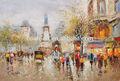 parís pintura al óleo escena la gente camina en la calle de invierno