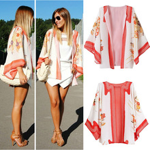New 2014 Ladies Floral Print Chiffon Kimono Cape Long Sleeve Loose Cardigan plus size SV004140