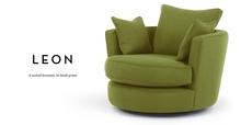 Leon Swivel Love Seat, Basil Green