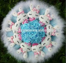 plush rabbit stuffed doll flowers