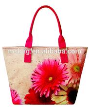 elegant digital print canvas waterproof lady hand bag SM003