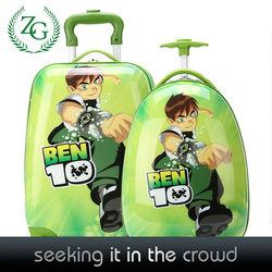 Fashion Boys Green School Trolley Bags , Kids Cartoon Luggage