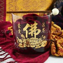 clear + gold buddha design quartz crystal singing bowls