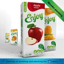 Popular custom high quality colorful fruit juice paper box