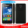 In stock original Lenovo A396 Smart phone 4 inch dual sim card Quad Core GSM WCDMA 3G mobile phone supports Multi-language