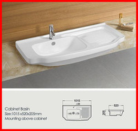 China bathroom durable ceramic cabinet basin with washboard Z-2012