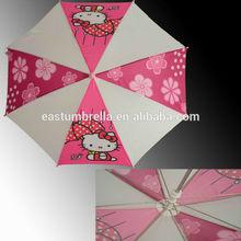 Kids good quality curved handle hello kitty umbrella