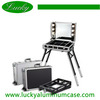 Black aluminum train case beauty case makeup with lights