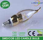 110v~220v led candelabra candle lights bulb e14 e27 3w=35w cob clear led pendant chandelier gold energy saving