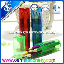 3.5 inch color pencil in plastic tube pencil box