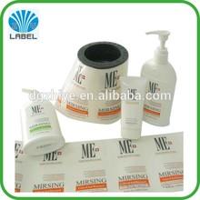 PP/PET/PVC plastic custom adhesive bottle labels for cosmetic plastic bottles, bath bottles