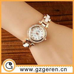 D00157z White Imitation Creamic with diamond Quartz Ladies Watches