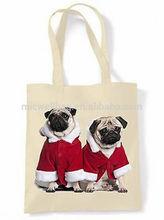 PUG DOG SANTA CLAUS SHOPPING \ SHOULDER BAG - Pugs Christmas Present Gift Xmas
