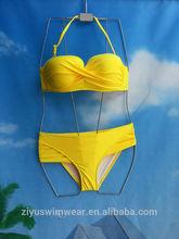 On Sale !!!! Summer Solid Bright Yellow Halter Woman Swimwear