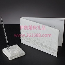 Spring Blossom white lace Wedding Guest Book and Pen Set Wedding party accessories in stocks