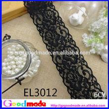 6cm wholesale garments accessories black embroidery lace trim