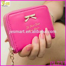 New fashion Mini Lady Bowknot PU Leather Purse Zip Small Women Clutch Wallet Card Holder Bag