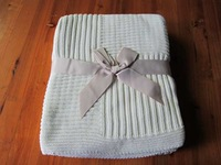 50DA83 line and strip square cotton knit throw blanket for bedding, sofa,outdoor, and furniture, wedding using