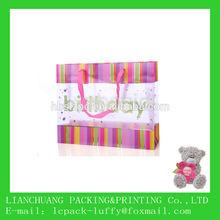 big Fashion birthday colorful and pink drawstrings PP shopping tote Bag for kids /girl