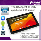 2014 best10 inch A31s quad core google android 4.4 smart tablet pc IPS