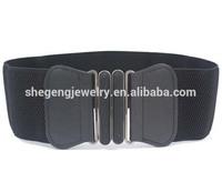 Metal Interlocking Buckle Black Stretchy Cinch Belt for Lady