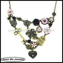 18k gold plating Top quality elegant zinc alloy vintage garden charm necklace