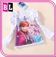 High quality Newest America Hot Selling children Long-Sleeved T-shirt frozen t-shirt