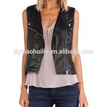 2014 autumn high quality cool rock custom biker leather waistcoat