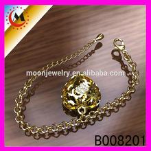 Oro 14k cuore braccialetto, cuore unico braccialetti per le donne, braccialetto elastico cuore