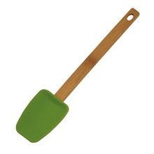 silicone bamboo handle scraper&food safe silicon bamboo handle scrape