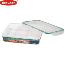 Fashion design bpa free plastic cookies container with 6 dividers