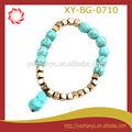 turquesa de moda de la aleación y perlas pulsera elástica