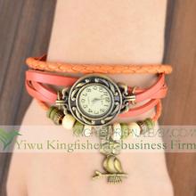 2014 Latest design owl pendant wrap bracelet vintage leather watch women!! Hot quartz fancy ladies vintage leather watch bulk!!