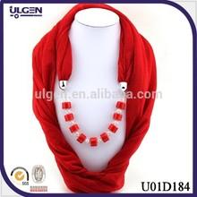 New fashion Polyester pendant embellished jewelry scarf