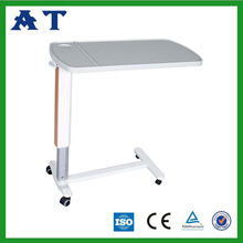 Wooden top adjustable bedside patient table